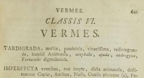 Poglavlje o crvima (Vermes) u djelu Systema naturae (izvor: BHL)