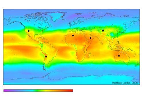 Jakost sunčevog zračenja na našem planetu (Izvor: Wikimedia commons)